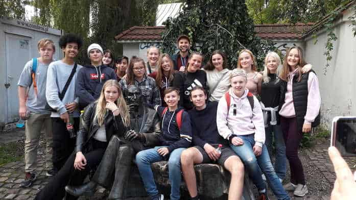 A school group from Denmark visiting Jewish quarter in Krakow