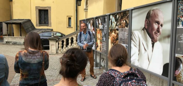 exhibition about the pope during Krakow John Paul II Trail Tour