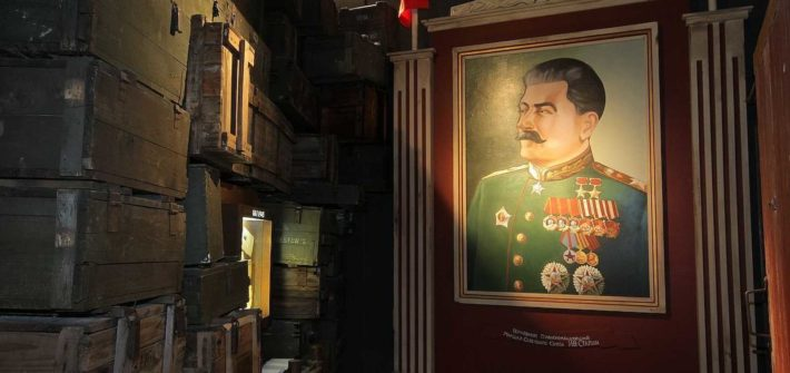 Josef Stalin picture during Krakow Schindler's Factory Guided Tour