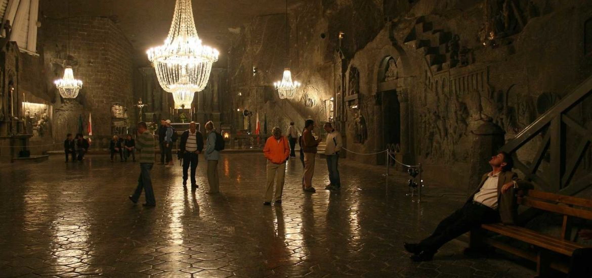 People in Wieliczka during Krakow Salt Mine tour