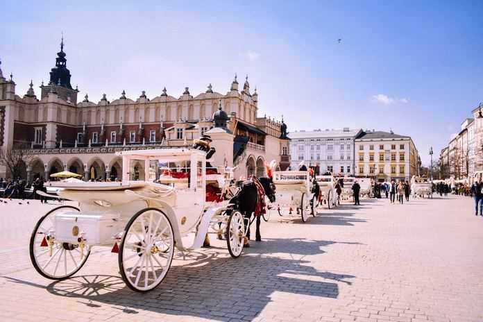 Krakow main square during bike tour