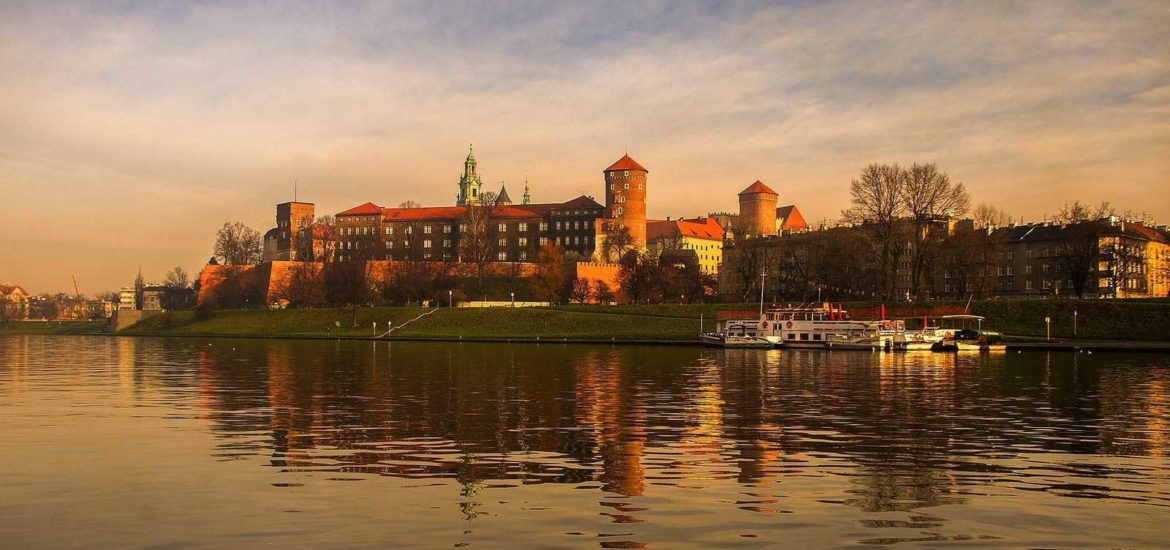 Krakow Wawel Castle view from Vistula river