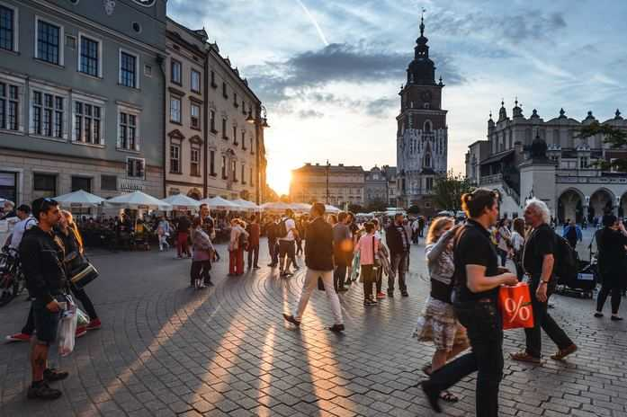 Krakow people during bike tour