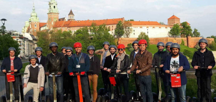 People and Wawel Castle view during Krakow segway tour