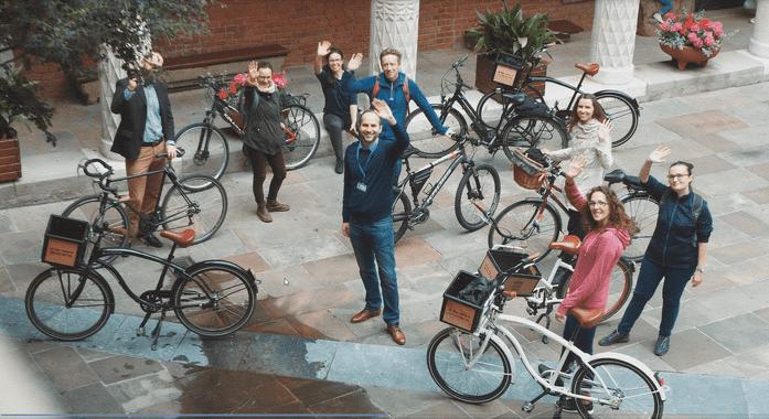 collegium maius podczas zwiedzanie Krakowa na rowerze